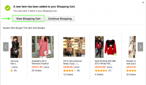 Tlačítkem View Shopping Cart přejdete do nákupního košíku / Tlačítkem Continue Shopping budete pokračovat v nákupu