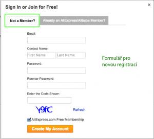 Tabem Not a Member? vytvoříte nový účet / Tabem Already an AliExpress/Alibaba Member? se přihlásíte k již existujícímu účtu